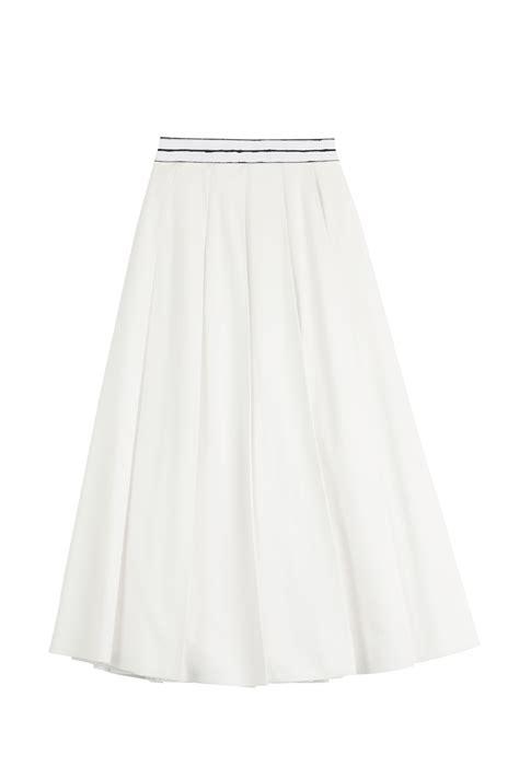 vionnet cotton midi skirt white in white lyst