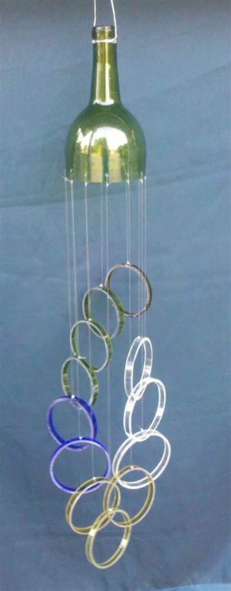 Handmade Wind Chimes - multi color glass wind chime handmade from wine bottles