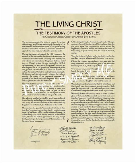 lds the living christ the testimony of the apostles lds the living christ 11 x 14 pdf testimony proclamation