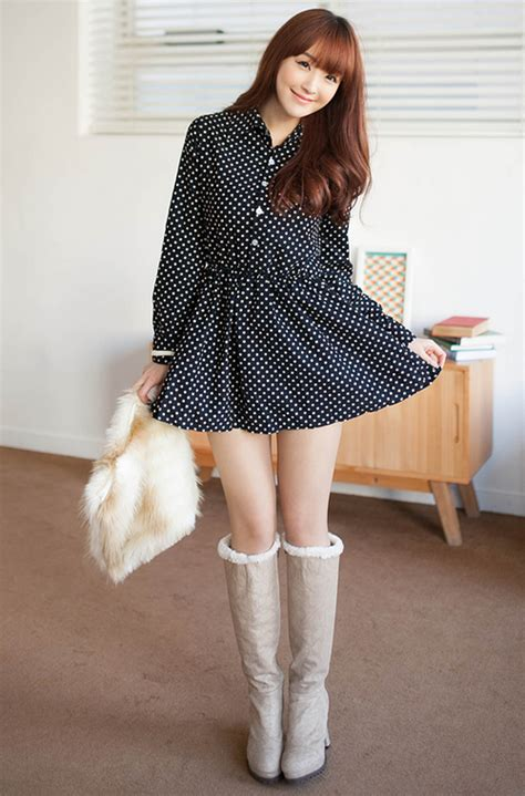 Dress Mini Korean 2fb flared hem mini dress kstylick