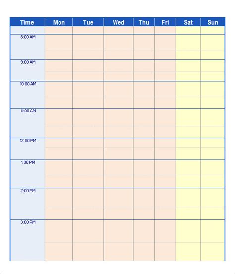 schedule template free work schedule template 15 free documents in