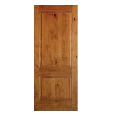 Rustic Wood Interior Doors Krosswood Doors 24 In X 80 In 2 Panel Square Top Solid Wood Rustic Knotty Alder Right