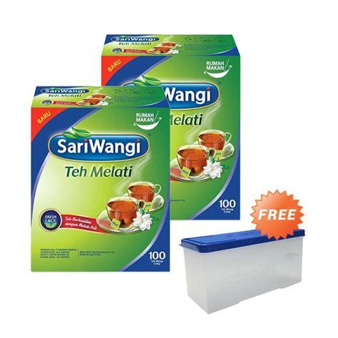 Teh Sariwangi Isi 100 jual sariwangi melati teh celup 1 9 g 100 teabag 2 pcs 67395937 free canister