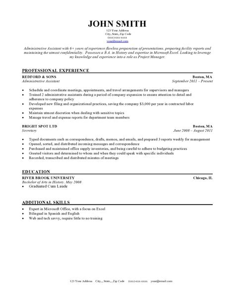 resume templates for resume template format sle exles layout free