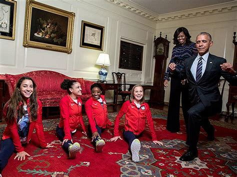 president obama house president barack obama tries the splits with the final five as he welcomes team usa to