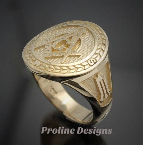 Handmade Masonic Rings - masonic moral compass ring in gold handmade style 032g