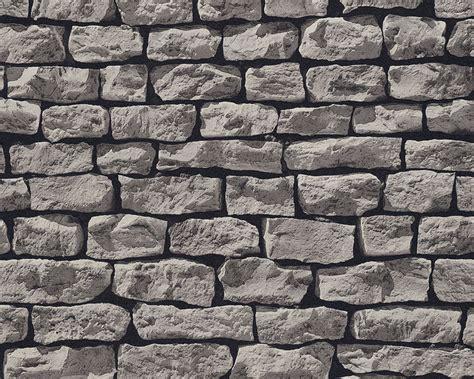 wallpaper grey brick realistic dark grey brick dry stone wall effect wallpaper