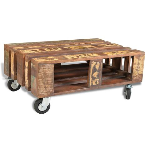 Coffee Table With Wheels Vidaxl Co Uk Antique Style Reclaimed Wood Coffee Table With 4 Wheels