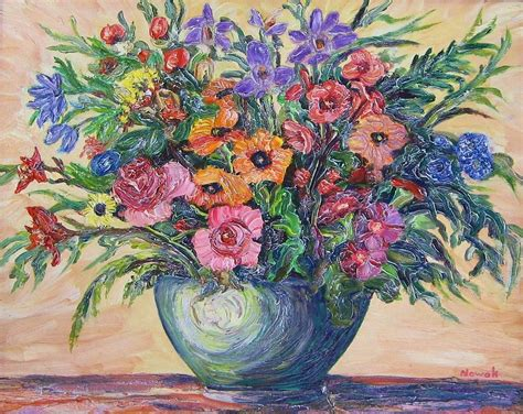 Vase Of Flowers Paintings by Vase Of Flowers By Richard Nowak