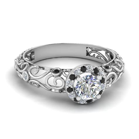 cut trail halo engagement ring with