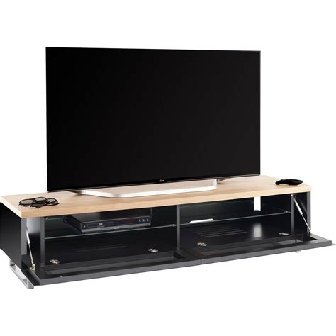 Ok Stand New techlink panorama pm160b piano black light oak tv stand for up to 80 quot tvs new ebay