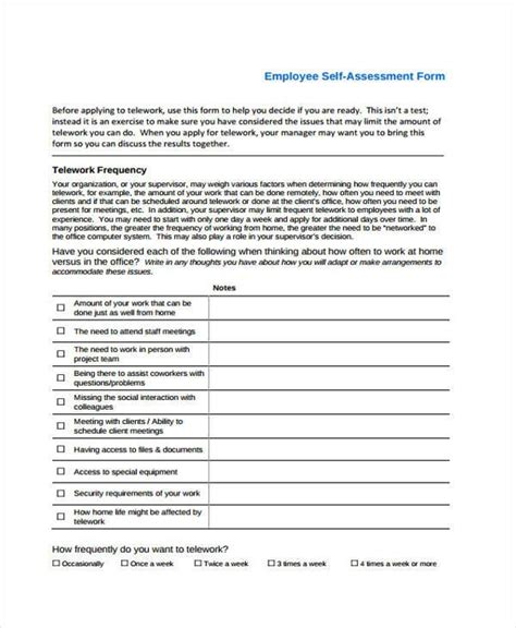 employee self assessments 7 self assessment form sles free sle exle