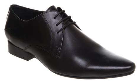 mens office mannibago point lace black leather shoes ebay