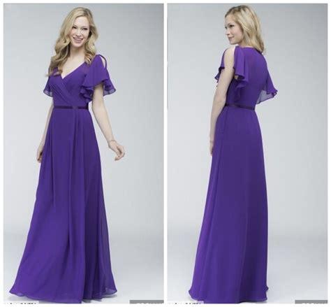 design dress untuk bridesmaid long chiffon v neck cap sleeve royal purple bridesmaid