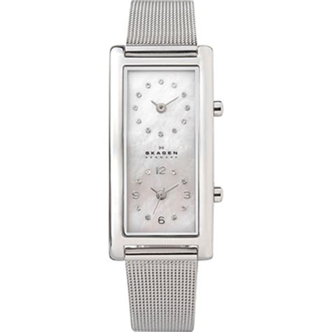 Bench Ladies Skagen Dual Time Zone Watch With Mesh Band Leather Band