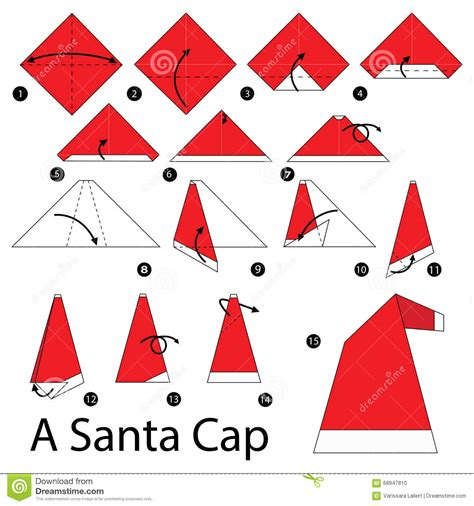 How To Make An Origami Santa - step by step how to make origami a santa cap