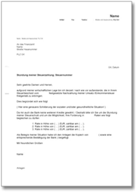Musterbrief Anfrage Ratenzahlung Antrag An Das Finanzamt Auf Stundung Und Ratenzahlung Der