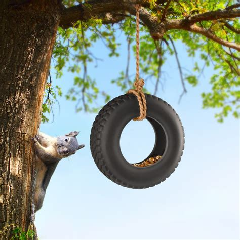 a tire swing hanging from a branch swingtime ceramic tire swing bird feeder the green head