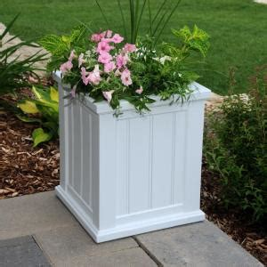 White Planters Home Depot by Mayne Cape Cod 16 In Square White Plastic Planter 4837 W The Home Depot