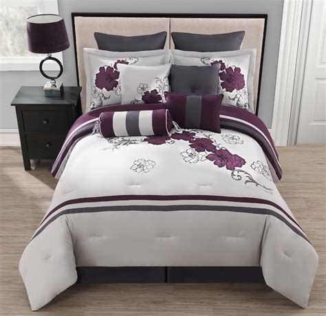10 piece king poppy purple and gray comforter set ebay
