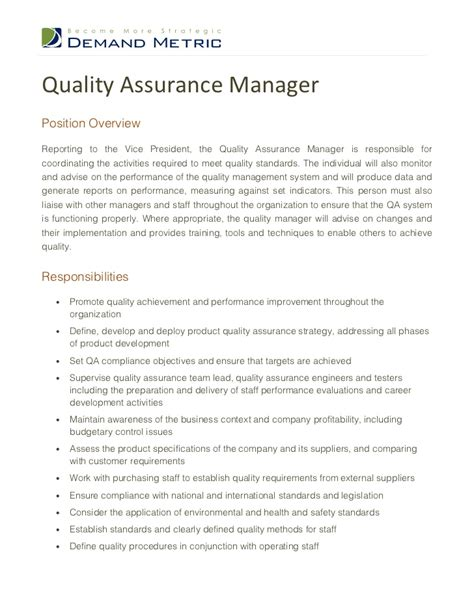 Assistant Quality Manager Cover Letter Quality Assurance Manager Description