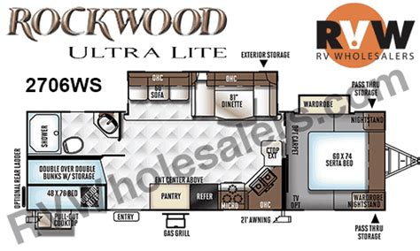 rockwood rv floor plans 2018 forest river rockwood ultra lite 2706ws travel