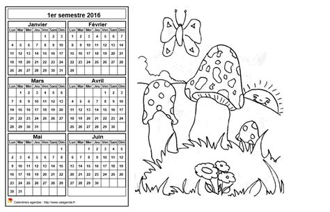 Calendrier Semestriel 2016 à Imprimer Gratuit Calendrier 2016 224 Colorier Semestriel Format Paysage