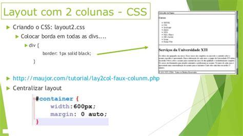 tableless layout using css aula 28 29 30 e 31 layout tableless