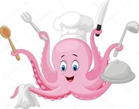 chef de pieuvre dessin anim 233 tenant des ustensiles de