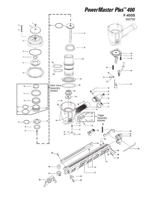 paslode framing nailer parts diagram buy paslode 500705 f 400s replacement tool parts