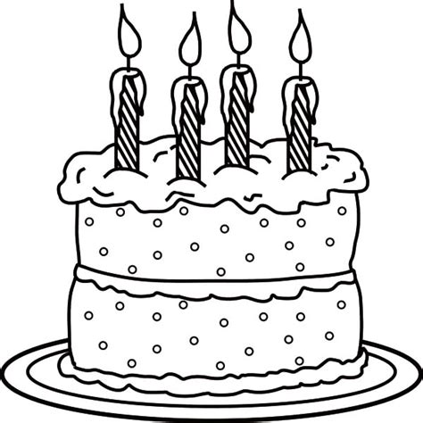 picture of birthday candle on cake colouring page happy
