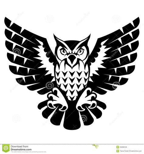 owl with open wings and claws stock vector image 49289126