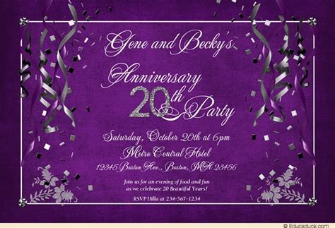 20th Wedding Anniversary Event Ideas by Festive 20th Anniversary Invitation Purple 20