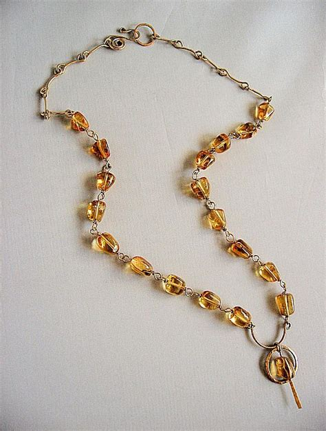 Handmade Gold Necklace - handmade necklace smooth nuggets madeira citrine and 14k