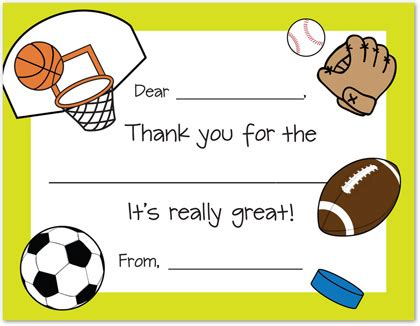 sports thank you card template sports theme thank you fill in thank you cards
