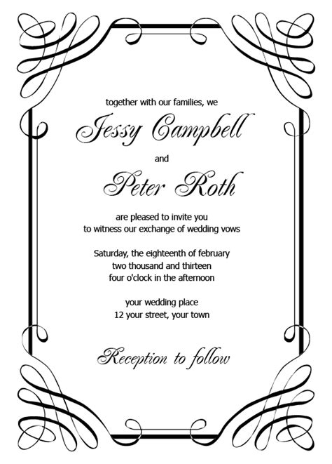 the invitation template blank wedding invitation templates