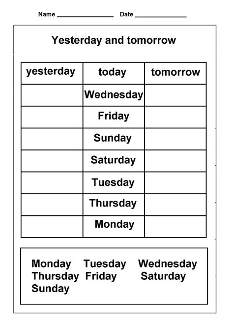 printable worksheets days of the week days of the week worksheets activity shelter