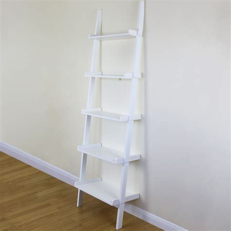 5 Tier White Ladder Wall Shelf Home Storage Display Unit White Ladder Shelf Bookcase