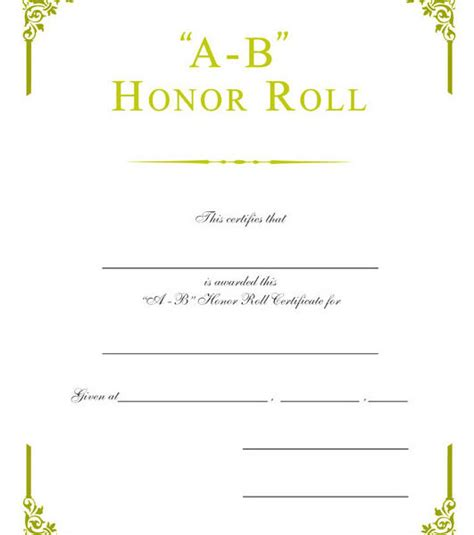 a b honor roll certificate template ab honor roll certificate b honor roll certificate 30pack