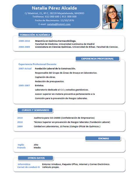 Modelo De Curriculum Vitae Para Quimico Farmaceutico Elaboraci 243 N Curriculum Cl 225 Sico Plantillas De Cv Para Enviar A Empresas Cvexpres
