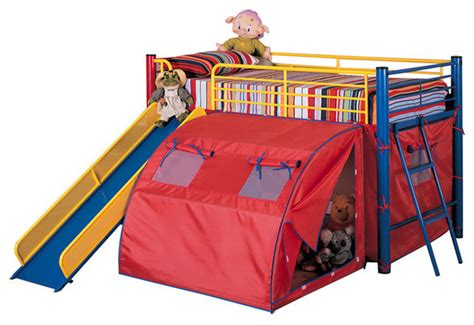 metal loft bed with slide fun play lofted twin bunk bed with slide and tent metal frame in bold multicolor