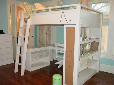 diy loft bed with storage and desk modern storage twin