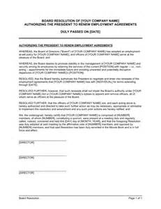 board of directors agreement template board resolution authorizing agreements renewal template minutes of meeting of directors special template