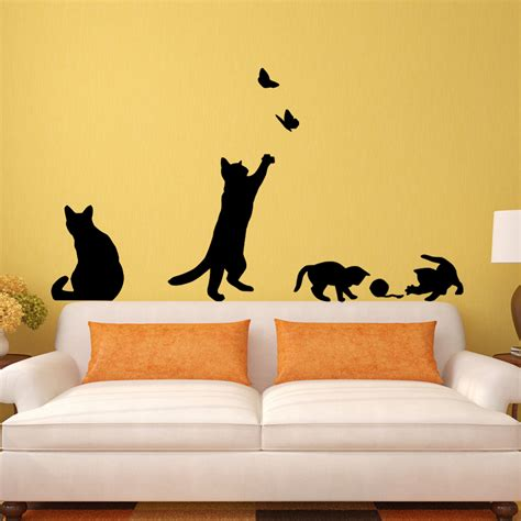 removable wall decals for living room cat play butterflies wall sticker removable decoration