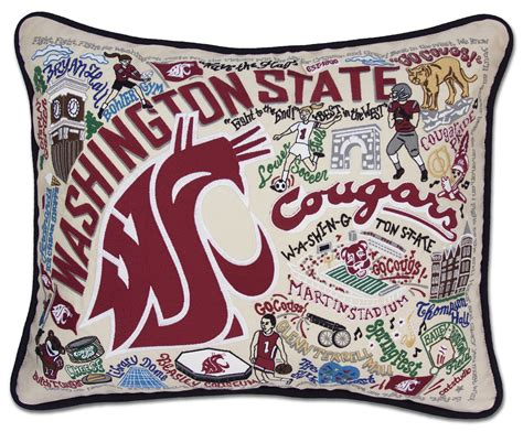 State Embroidered Pillows by Washington State Embroidered Pillow By Catstudio