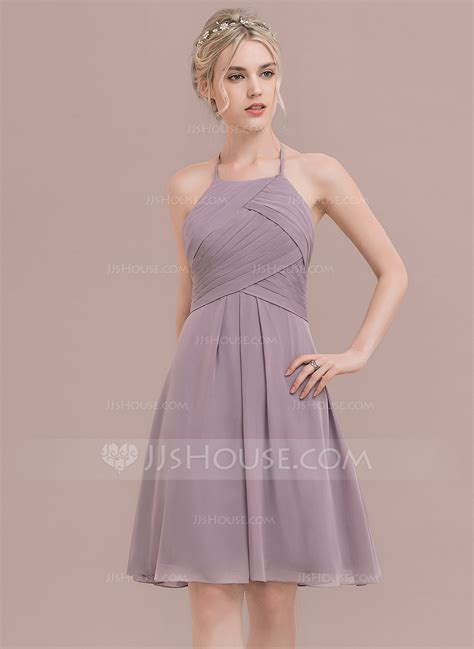 A Line/Princess Scoop Neck Knee Length Chiffon Bridesmaid