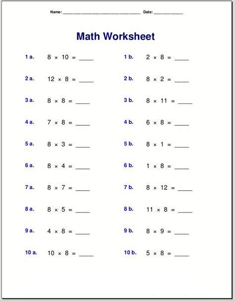 multiply by 8 worksheet printable k5 worksheets math