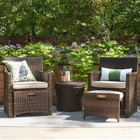 Halsted 5 Piece Wicker Small Space Patio Furniture Set Small Outdoor Patio Furniture