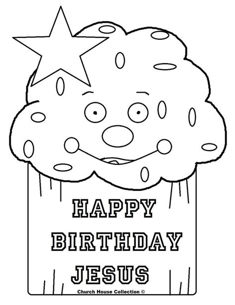 happy birthday jesus cupcake coloring page mewarnai