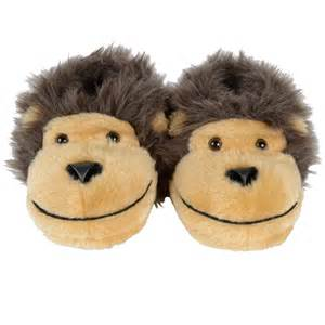 Childrens novelty padded faux fur monkey face slippers with non slip